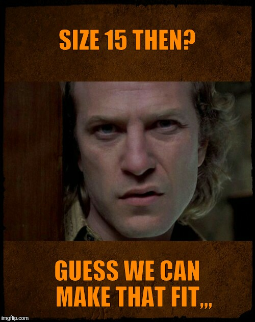 Buffalo Bill, Are you serious?,,, | SIZE 15 THEN? GUESS WE CAN   MAKE THAT FIT,,, | image tagged in buffalo bill,are you serious | made w/ Imgflip meme maker