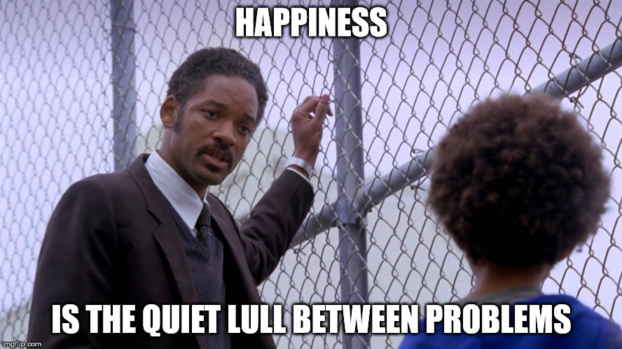 HAPPINESS IS THE QUIET LULL BETWEEN PROBLEMS | image tagged in pursuit-of-happiness | made w/ Imgflip meme maker