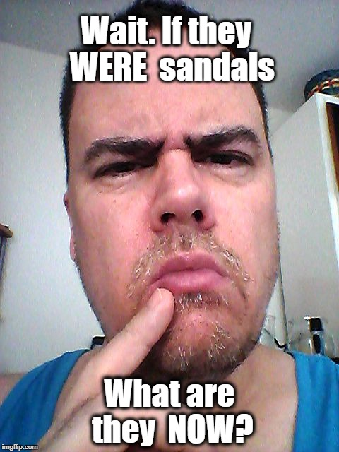 puzzled | Wait. If they  WERE  sandals What are they  NOW? | image tagged in puzzled | made w/ Imgflip meme maker