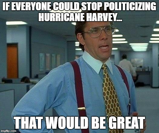 That Would Be Great Meme | IF EVERYONE COULD STOP POLITICIZING HURRICANE HARVEY... THAT WOULD BE GREAT | image tagged in memes,that would be great | made w/ Imgflip meme maker