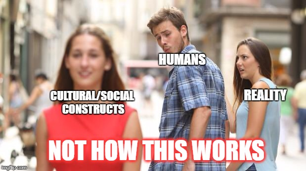 Distracted Boyfriend | HUMANS REALITY CULTURAL/SOCIAL CONSTRUCTS NOT HOW THIS WORKS | image tagged in guy looking at girl | made w/ Imgflip meme maker