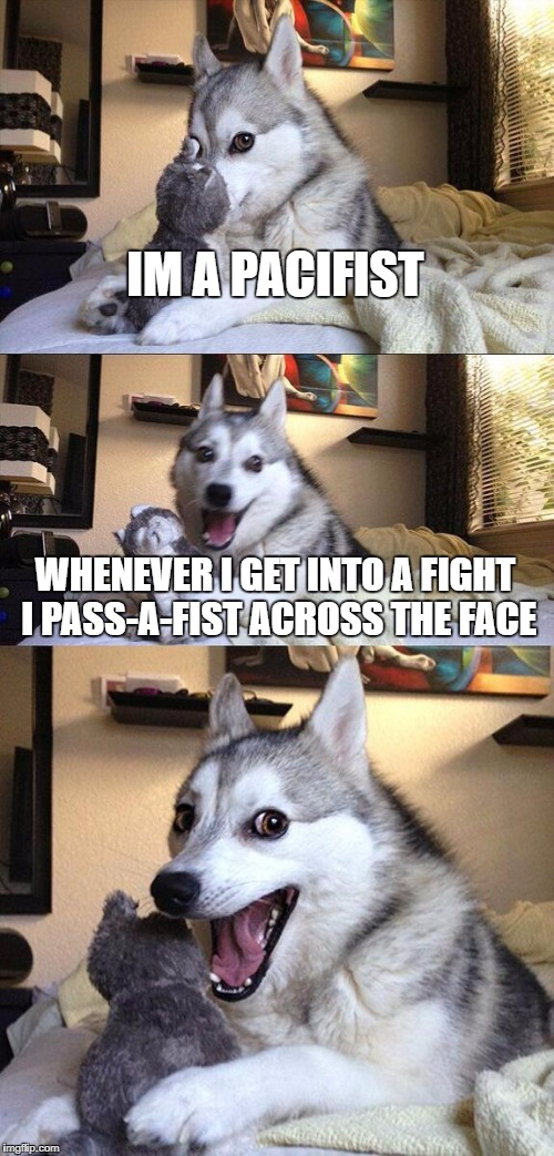 Bad Pun Dog Meme | IM A PACIFIST WHENEVER I GET INTO A FIGHT I PASS-A-FIST ACROSS THE FACE | image tagged in memes,bad pun dog | made w/ Imgflip meme maker