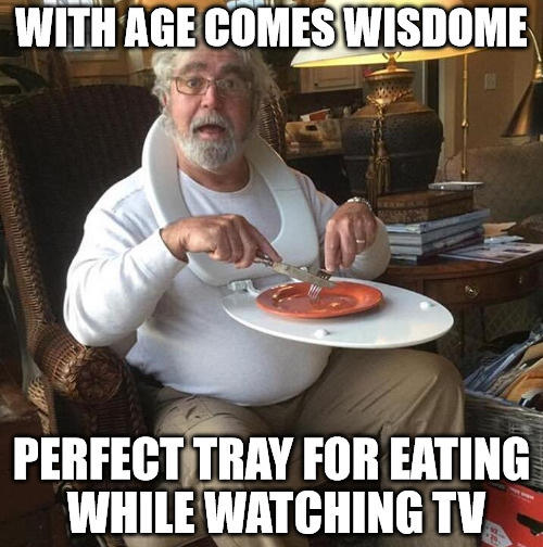 as long as your food doesn't taste like shit, you're okay. | WITH AGE COMES WISDOME PERFECT TRAY FOR EATING WHILE WATCHING TV | image tagged in tv tray,genius,toilet seat,repurposed item | made w/ Imgflip meme maker