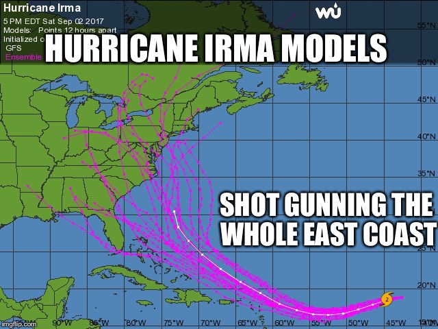 Hurricane forecasting accuracy | HURRICANE IRMA MODELS SHOT GUNNING THE WHOLE EAST COAST | image tagged in irma models,hurricane,computer models,memes | made w/ Imgflip meme maker