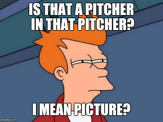 Futurama Fry Meme | IS THAT A PITCHER IN THAT PITCHER? I MEAN PICTURE? | image tagged in memes,futurama fry | made w/ Imgflip meme maker