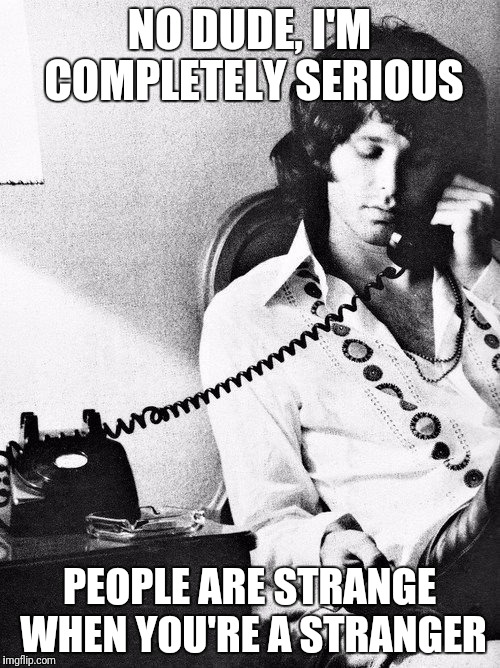 Jim Morrison | NO DUDE, I'M COMPLETELY SERIOUS PEOPLE ARE STRANGE WHEN YOU'RE A STRANGER | image tagged in the doors,jim morrison | made w/ Imgflip meme maker
