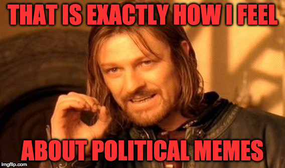 One Does Not Simply Meme | THAT IS EXACTLY HOW I FEEL ABOUT POLITICAL MEMES | image tagged in memes,one does not simply | made w/ Imgflip meme maker