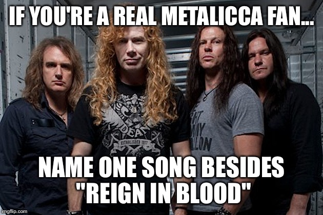 "IF YOU'RE A REAL METALICCA FAN... NAME ONE SONG BESIDES ""REIGN IN BLOOD"" 