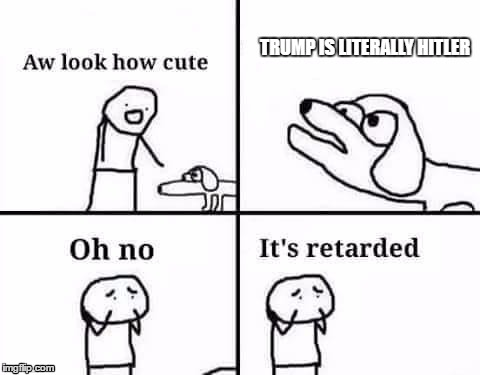 Oh no its retarded | TRUMP IS LITERALLY HITLER | image tagged in oh no its retarded,donald trump | made w/ Imgflip meme maker