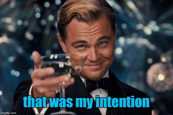 Leonardo Dicaprio Cheers Meme | that was my intention | image tagged in memes,leonardo dicaprio cheers | made w/ Imgflip meme maker