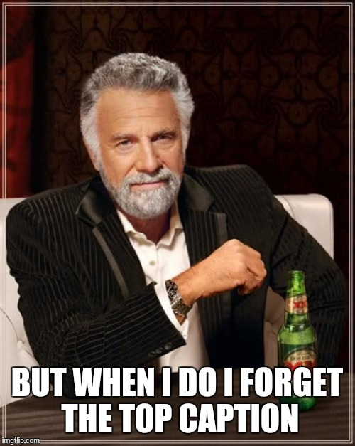 The Most Interesting Man In The World Meme | BUT WHEN I DO I FORGET THE TOP CAPTION | image tagged in memes,the most interesting man in the world | made w/ Imgflip meme maker