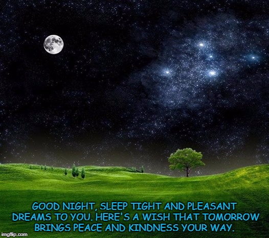 GOOD NIGHT, SLEEP TIGHT AND PLEASANT DREAMS TO YOU. HERE'S A WISH THAT TOMORROW BRINGS PEACE AND KINDNESS YOUR WAY. | image tagged in moon | made w/ Imgflip meme maker