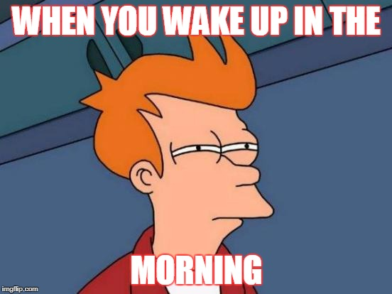 Futurama Fry Meme | WHEN YOU WAKE UP IN THE MORNING | image tagged in memes,futurama fry | made w/ Imgflip meme maker