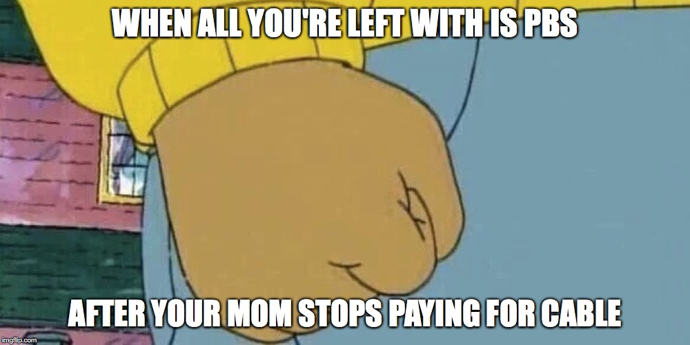 Arthur's Fist | WHEN ALL YOU'RE LEFT WITH IS PBS AFTER YOUR MOM STOPS PAYING FOR CABLE | image tagged in arthur's fist | made w/ Imgflip meme maker
