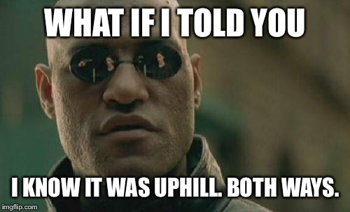 Matrix Morpheus Meme | WHAT IF I TOLD YOU I KNOW IT WAS UPHILL. BOTH WAYS. | image tagged in memes,matrix morpheus | made w/ Imgflip meme maker