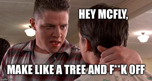 HEY MCFLY, MAKE LIKE A TREE AND F**K OFF | made w/ Imgflip meme maker