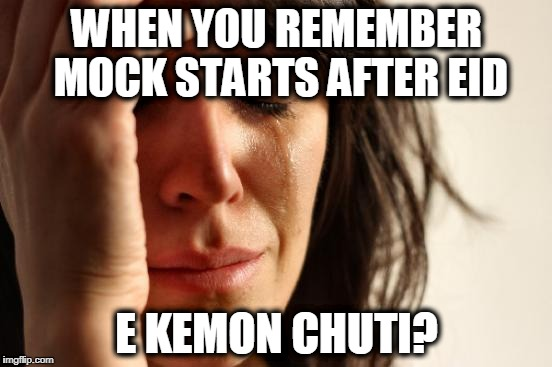 First World Problems Meme | WHEN YOU REMEMBER MOCK STARTS AFTER EID E KEMON CHUTI? | image tagged in memes,first world problems | made w/ Imgflip meme maker