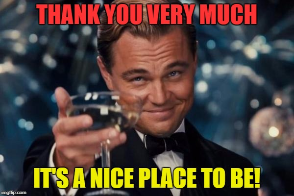Leonardo Dicaprio Cheers Meme | THANK YOU VERY MUCH IT'S A NICE PLACE TO BE! | image tagged in memes,leonardo dicaprio cheers | made w/ Imgflip meme maker