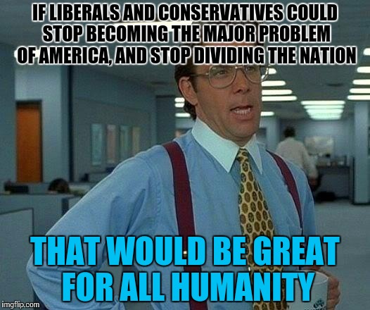 Liberal = Liar. Conservative = Conciever. Don't listen to em'. | IF LIBERALS AND CONSERVATIVES COULD STOP BECOMING THE MAJOR PROBLEM OF AMERICA, AND STOP DIVIDING THE NATION THAT WOULD BE GREAT FOR ALL HUM | image tagged in memes,that would be great,funny,liberal vs conservative | made w/ Imgflip meme maker