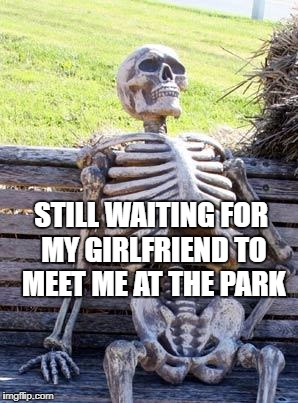Waiting Skeleton Meme | STILL WAITING FOR MY GIRLFRIEND TO MEET ME AT THE PARK | image tagged in memes,waiting skeleton | made w/ Imgflip meme maker