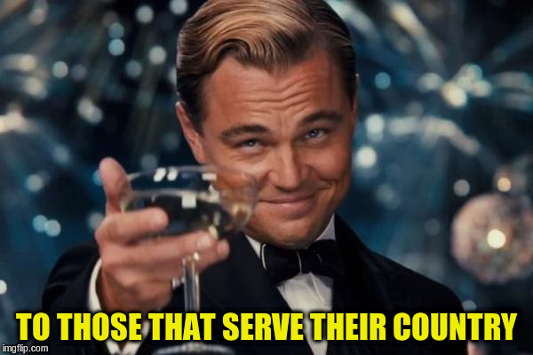 Leonardo Dicaprio Cheers Meme | TO THOSE THAT SERVE THEIR COUNTRY | image tagged in memes,leonardo dicaprio cheers | made w/ Imgflip meme maker