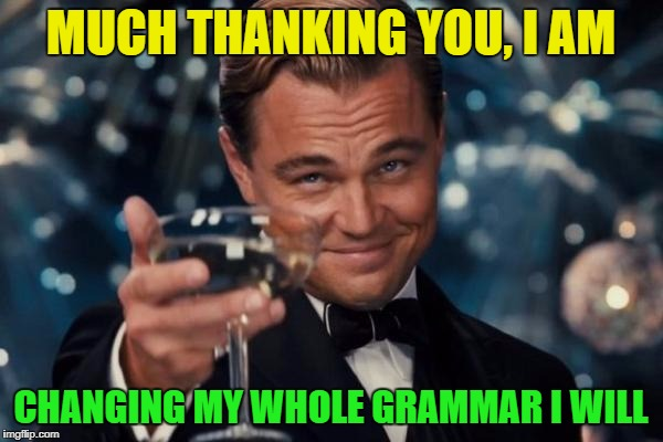 Leonardo Dicaprio Cheers Meme | MUCH THANKING YOU, I AM CHANGING MY WHOLE GRAMMAR I WILL | image tagged in memes,leonardo dicaprio cheers | made w/ Imgflip meme maker