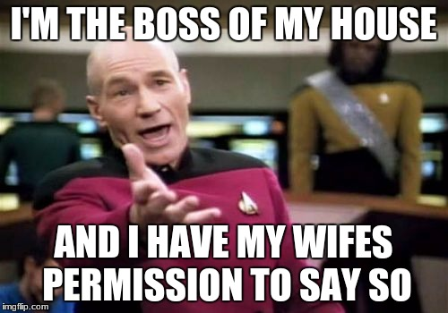 Picard Wtf Meme | I'M THE BOSS OF MY HOUSE AND I HAVE MY WIFES PERMISSION TO SAY SO | image tagged in memes,picard wtf | made w/ Imgflip meme maker