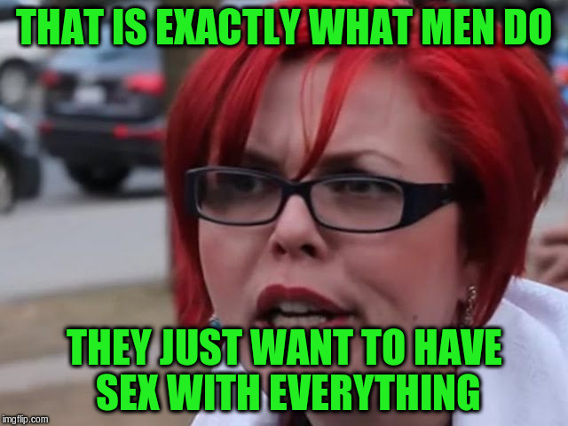 THAT IS EXACTLY WHAT MEN DO THEY JUST WANT TO HAVE SEX WITH EVERYTHING | made w/ Imgflip meme maker
