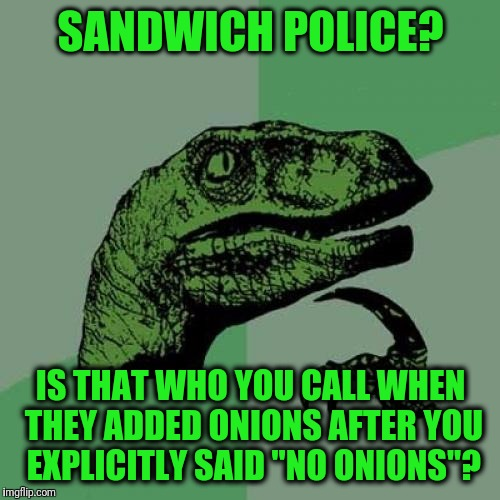 "Philosoraptor Meme | SANDWICH POLICE? IS THAT WHO YOU CALL WHEN THEY ADDED ONIONS AFTER YOU EXPLICITLY SAID ""NO ONIONS""? 