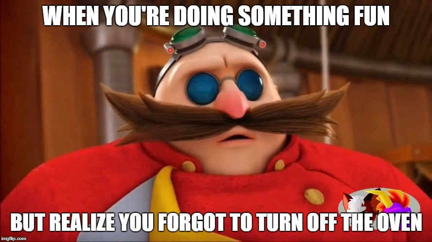 Burning Ring of Fire | WHEN YOU'RE DOING SOMETHING FUN BUT REALIZE YOU FORGOT TO TURN OFF THE OVEN | image tagged in eggman surprised - sonic boom,oven,forgot,forget | made w/ Imgflip meme maker