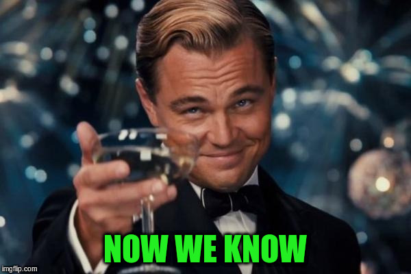 Leonardo Dicaprio Cheers Meme | NOW WE KNOW | image tagged in memes,leonardo dicaprio cheers | made w/ Imgflip meme maker