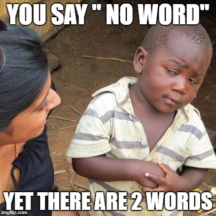 "Third World Skeptical Kid Meme | YOU SAY "" NO WORD"" YET THERE ARE 2 WORDS 