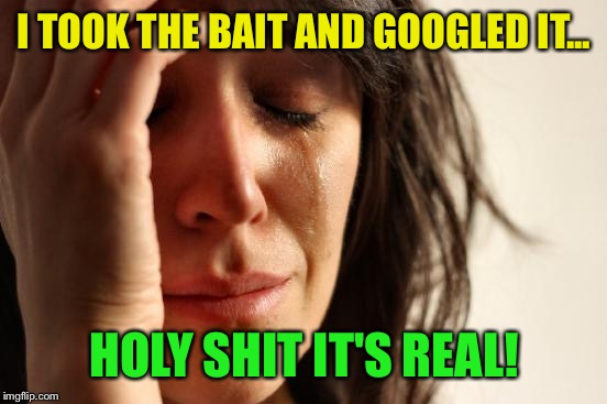 First World Problems Meme | I TOOK THE BAIT AND GOOGLED IT... HOLY SHIT IT'S REAL! | image tagged in memes,first world problems | made w/ Imgflip meme maker