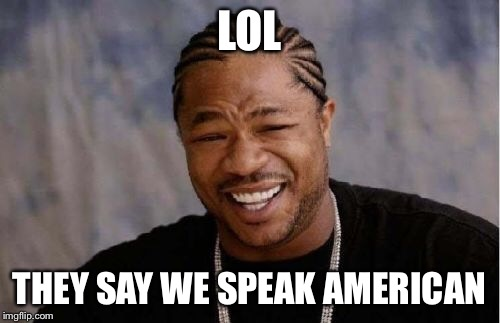 Yo Dawg Heard You Meme | LOL THEY SAY WE SPEAK AMERICAN | image tagged in memes,yo dawg heard you | made w/ Imgflip meme maker