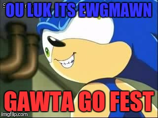 Derp sonic | OU LUK ITS EWGMAWN GAWTA GO FEST | image tagged in derp sonic | made w/ Imgflip meme maker
