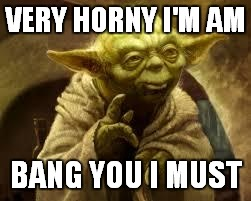 yoda | VERY HORNY I'M AM BANG YOU I MUST | image tagged in yoda | made w/ Imgflip meme maker