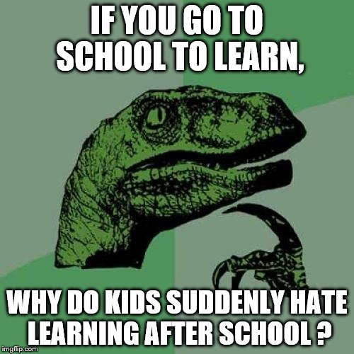 Philosoraptor Meme | IF YOU GO TO SCHOOL TO LEARN, WHY DO KIDS SUDDENLY HATE LEARNING AFTER SCHOOL ? | image tagged in memes,philosoraptor | made w/ Imgflip meme maker