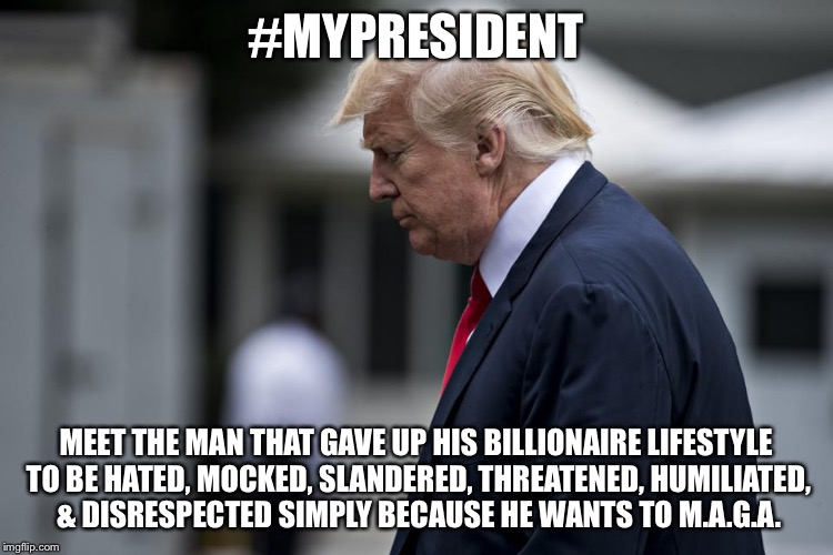 #MYPRESIDENT MEET THE MAN THAT GAVE UP HIS BILLIONAIRE LIFESTYLE TO BE HATED, MOCKED, SLANDERED, THREATENED, HUMILIATED, & DISRESPECTED SIMP | image tagged in potus hero | made w/ Imgflip meme maker