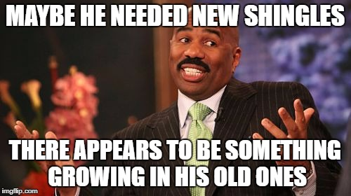 Steve Harvey Meme | MAYBE HE NEEDED NEW SHINGLES THERE APPEARS TO BE SOMETHING GROWING IN HIS OLD ONES | image tagged in memes,steve harvey | made w/ Imgflip meme maker