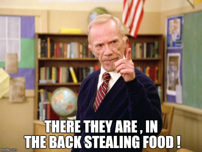 Mister Hand | THERE THEY ARE , IN THE BACK STEALING FOOD ! | image tagged in mister hand | made w/ Imgflip meme maker