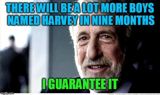 I Guarantee It Meme | THERE WILL BE A LOT MORE BOYS NAMED HARVEY IN NINE MONTHS I GUARANTEE IT | image tagged in memes,i guarantee it | made w/ Imgflip meme maker