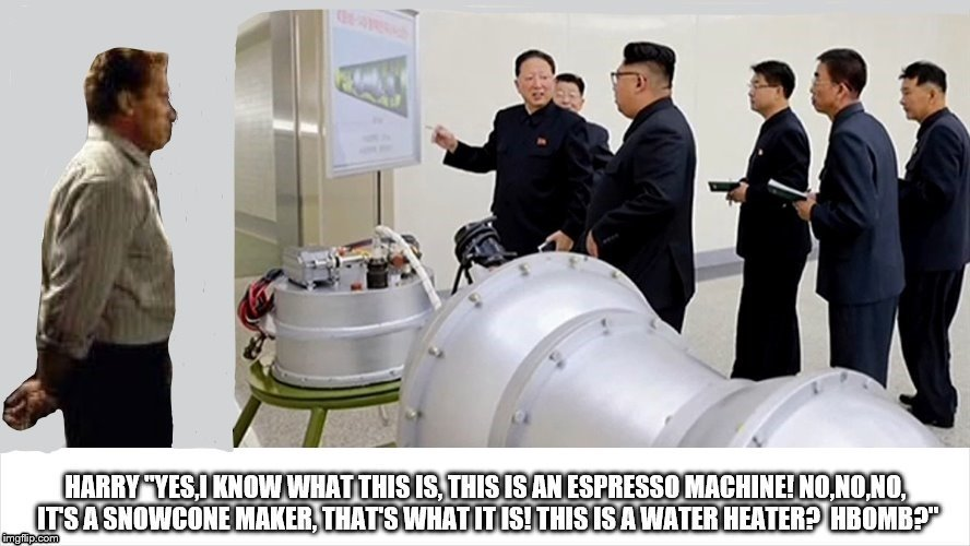 kim jong un not knowing what's in front of him asks super spy harry tasker if he knows!  | image tagged in harry tasker,true lies,kim jong un is a dangerous baby,north korea has h bomb,trump kim jong un dangerous,arnold schwarzenegger | made w/ Imgflip meme maker