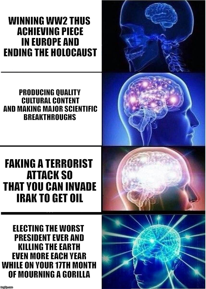 America in a nutshell  | PRODUCING QUALITY CULTURAL CONTENT AND MAKING MAJOR SCIENTIFIC BREAKTHROUGHS ELECTING THE WORST PRESIDENT EVER AND KILLING THE EARTH EVEN MO | image tagged in expanding brain | made w/ Imgflip meme maker