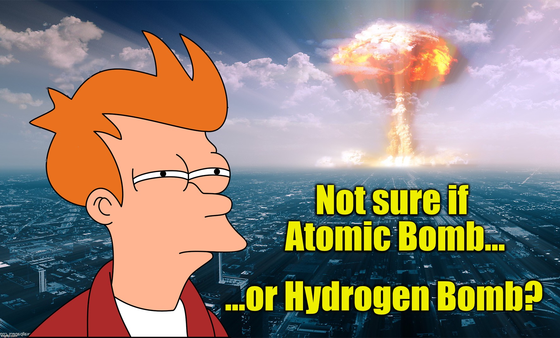 Not sure if Atomic Bomb... ...or Hydrogen Bomb? | image tagged in fry not sure,atomic bomb,hydrogen | made w/ Imgflip meme maker