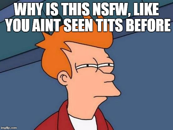 Futurama Fry Meme | WHY IS THIS NSFW, LIKE YOU AINT SEEN TITS BEFORE | image tagged in memes,futurama fry | made w/ Imgflip meme maker