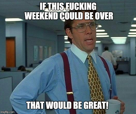That Would Be Great Meme | IF THIS F**KING WEEKEND COULD BE OVER THAT WOULD BE GREAT! | image tagged in memes,that would be great | made w/ Imgflip meme maker