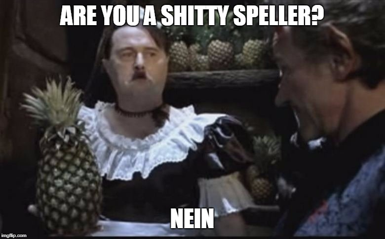 Hitler Pineapple | ARE YOU A SHITTY SPELLER? NEIN | image tagged in hitler pineapple | made w/ Imgflip meme maker