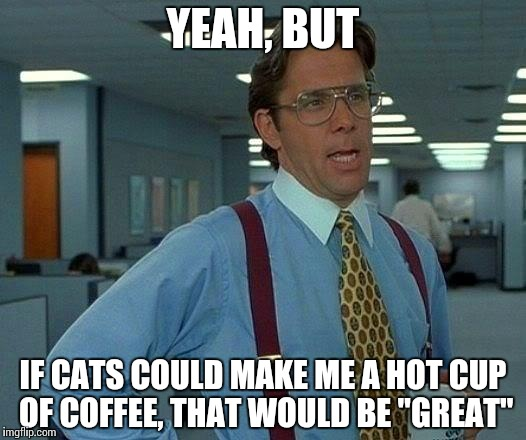 "That Would Be Great Meme | YEAH, BUT IF CATS COULD MAKE ME A HOT CUP OF COFFEE, THAT WOULD BE ""GREAT"" 