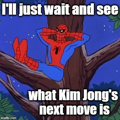 I'm actually nervous right now,  folks | I'll just wait and see what Kim Jong's next move is | image tagged in spiderman | made w/ Imgflip meme maker