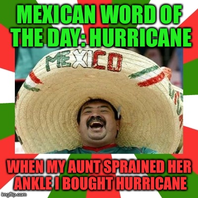 Harvey Says... | MEXICAN WORD OF THE DAY: HURRICANE WHEN MY AUNT SPRAINED HER ANKLE I BOUGHT HURRICANE | image tagged in mexican word of the day,funny,memes,oddly appropriate,harvey wonder,current events | made w/ Imgflip meme maker